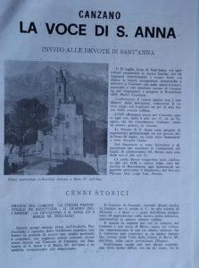 Foglio con immagine chiesa con campanile e testo